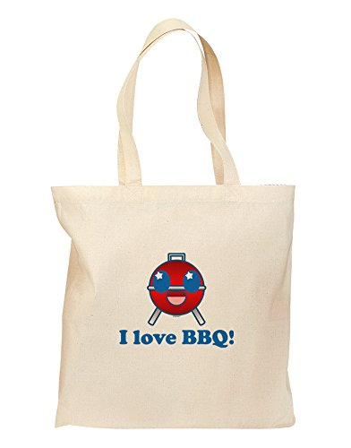 I Love BBQ Grocery Tote Bag - Natural