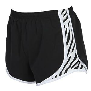 Youth Black with Zebra Side print sport velocity shorts, Medium