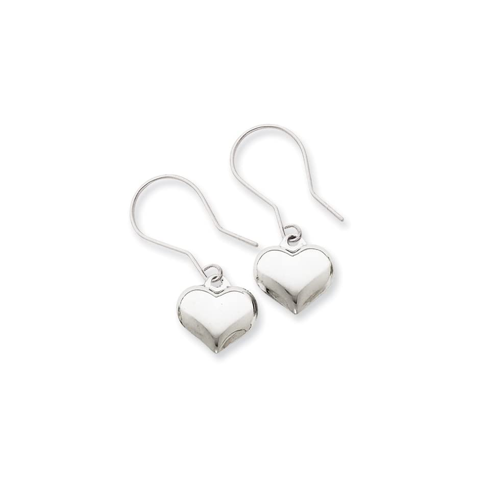 14k White Gold Puffed Heart Dangle Earrings