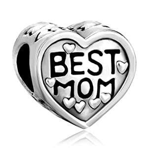 Pugster Heart Best Mom Charms Beads Fit Pandora Charms & Beads Gifts For Mother by Pugster
