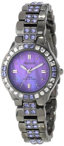Armitron Women's 27mm Grey Brass Bracelet & Case Quartz Purple Dial Analog Watch 75/3689VMDG