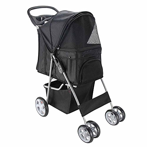 Oxgord Pet Stroller Cat/Dog Easy Walk Folding Travel Carrier Carriage, Onyx Black