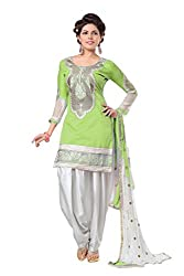 The Fashion World Green Color Chanderi Printed And Embroidery Work Salwar Suit Dress Material