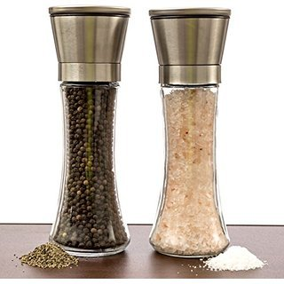Coziii Premium Brushed Stainless Steel Salt and Pepper Grinder Set / Mill (Set of 2), 6 Oz Glass Tall Body,