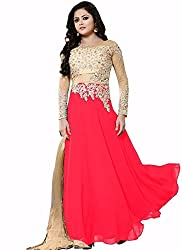 Universal Creation net and georgette lehenga choli for women(red)