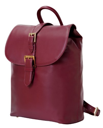 Isaac Mizrahi Kathryn Mini Camera Backpack In Genuine Leather For Dslr Cameras, Lenses, Accessories And Other Tech Items-With Removable Internal Padded Pouch, Burgundy front-220412
