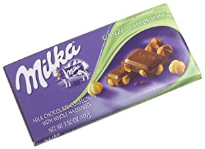 Milka Milk Chocolate with Whole Hazelnuts, 3.52-Ounce Bars (Pack of 10)