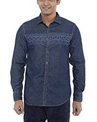 American Bull Men's Casual Shirt (ABSH6001, Blue, Small)