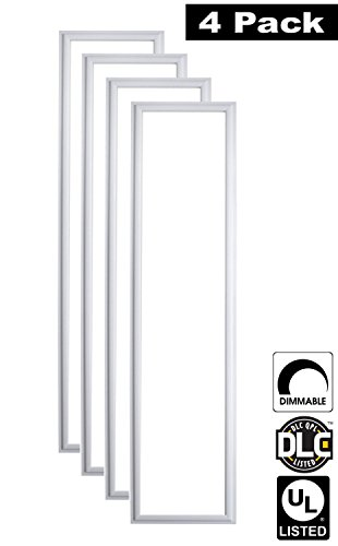 Luxrite LR24048 (4-Pack) 45W 1×4 FT LED Panel, Dimmable, Bright White 5000K, 4200 Lumens, 12×48 Inch, UL-Listed, DLC-Listed (Eligible for Rebate Programs)