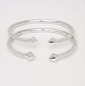 Thick Pyramid Ends .925 Sterling Silver West Indian Bangles (Pair 83.6 g / Size 9 (MADE IN USA))
