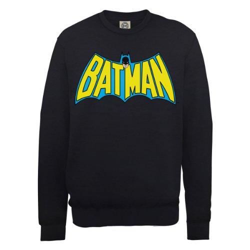 DC Comics Men's DC0000586 DC Comics Official Batman Retro Logo Crew Neck Long Sleeve Sweatshirt, Black, Large