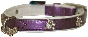BBD Diamante Paw Collar, 10-12-inch, Purple