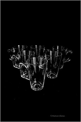 Set 6 Tall 6Oz Glass Turkish Tea Irish Coffee Glasses With Handles (Gift Boxed)