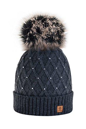 Femme-Beanie-Cristaux-Chapeau-Hat-Crystal-Grande-fourrure-pom-pom-Bonnet-dhiver-chaud-doublure-polaire