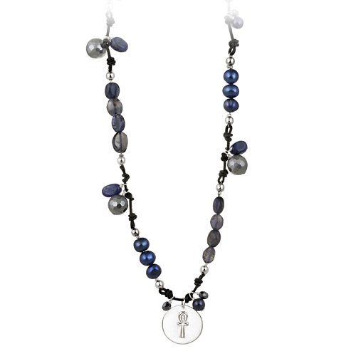 Sterling Silver Multi-Blue and Grey Freshwater Cultured Pearl Beaded Necklace with Soul Charm, 19