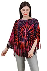 Mojeska Women's Handmade Poncho Tie Dye Top / Cover Up Red Butterfly Style