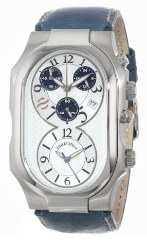 Philip-Stein-Mens-3-CRSILBL-CSTN-Signature-Silver-Tone-and-Navy-Chronograph-Dial-Calf-Strap-Watch