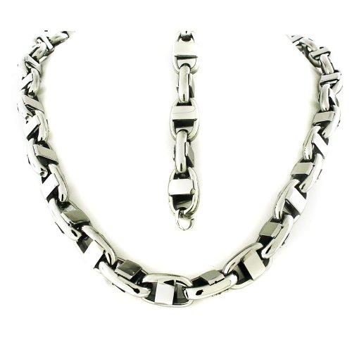 Men's Stainless Steel Silver Tone Link Bracelet 8