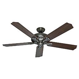 Hunter Fan Company 54017 The Royal Oak 60-Inch Antique Pewter Ceiling Fan with Five Walnut/Chestnut Blades