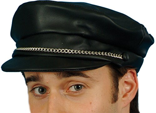Smiffy's Men's Pvc Biker Cap with Chain - 1