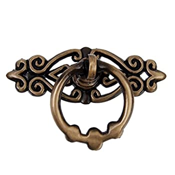 Pixnor 10pcs Antique Brass Vintage Kitchen Cabinet Cupboard Dresser Door Drawer Knobs