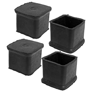 4 Pcs Black Chair Table Leg Rubber Foot Covers Protectors