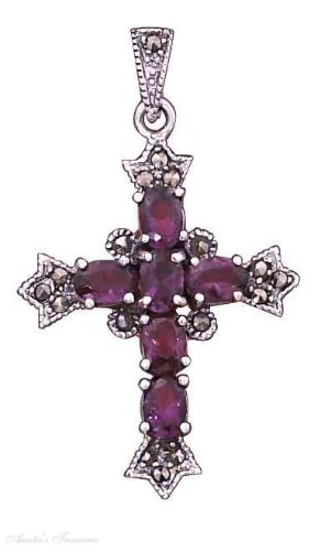 Sterling Silver Imitation Amethyst Marcasite Christian Religious Cross Pendant