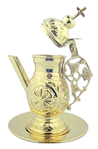 Holy Communion Wine Cruet 5 3/4 Inch Polished Brass Cross Top Vessel with Paten (Brass Tabletop Cross compare prices)