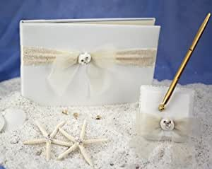 Beach Wedding Guestbook and Pen Set: Set Color: Ivory/ Gold Pen