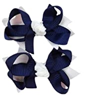 Hair Bow Set for Girls (2) 2.5 Inch Boutique Hair Bows By Funny Girl Designs (Navy Blue & White)