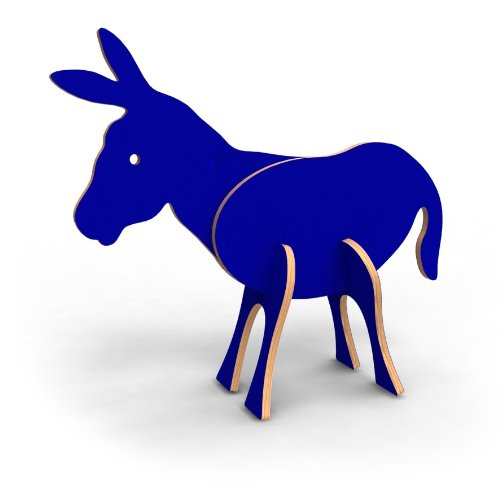 Topozoo Election Edition-Democrat Donkey 3-D Wood Puzzle, Blue