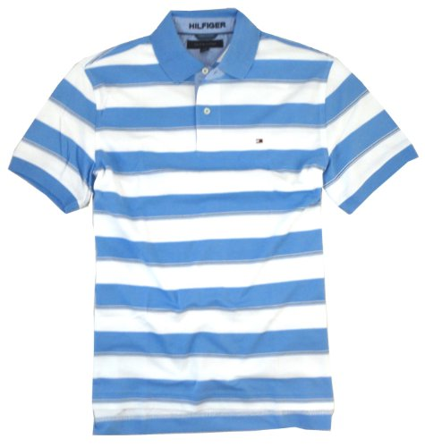 Tommy Hilfiger Men's Classic Tipped Polo Shirt, X-Large, LaBrea Blue Stripe
