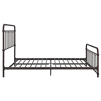 Wallace Metal Bed Frame in Dark Bronze with Vintage Headboard and Footboard, No Box Spring Required, Sturdy Metal Frame with Slats, Weight Limit 500 lbs, Queen Size
