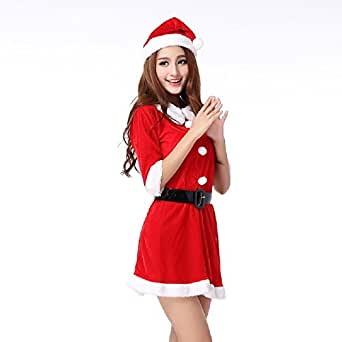 Bgoodgirl Women's Christmas Santa Claus Costumes Party Skirt Uniform Fancy Dress