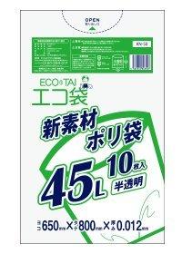 ゴミ袋45L 650x800x0.012厚 半透明 10枚 HDPE+META素材