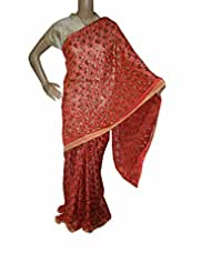 Beautiful RUDA Designer Phulkari Embroidered Saree-JS1095