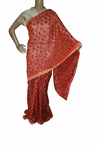 Beautiful RUDA Designer Phulkari Embroidered Saree-JS1095
