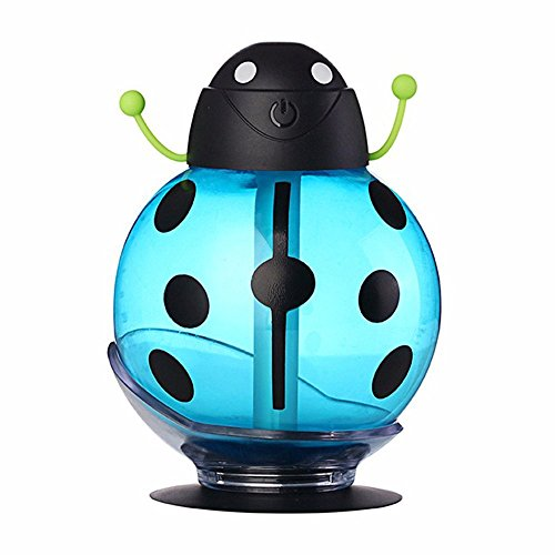 soled Portable 360 degree rotation Creative Cartoon Beetle Ultrasonic Humidifier Skin Replenishment 260ML Mini USB Air Freshener Purifier Mist Maker with LED Light for Home School Travel Car (Blue) (Easy To Clean Steam Vaporizer compare prices)