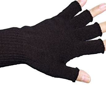 Black Unisex Warm Half Finger Stretchy Knit Gloves