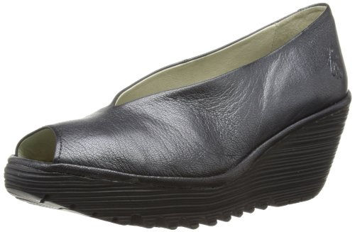 Fly London Womens Yury Peep-Toe P500482009 Black 8 UK, 41 EU