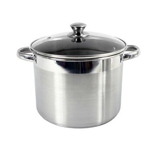 Heuck 36109 Classic Series 8-Quart Encapsulated Stainless Steel Stockpot with Tempered Glass Lid