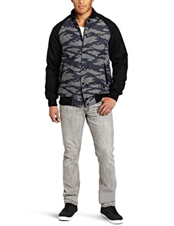 Crooks & Castles Men's Denim Tiger Camo Snap Up Jacket, Black, Large