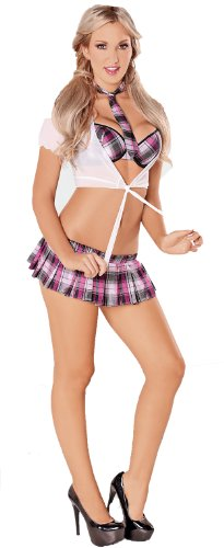 Escante Womens Sweet School Girl Costume, Pink/White, Small (Kinky Costumes)