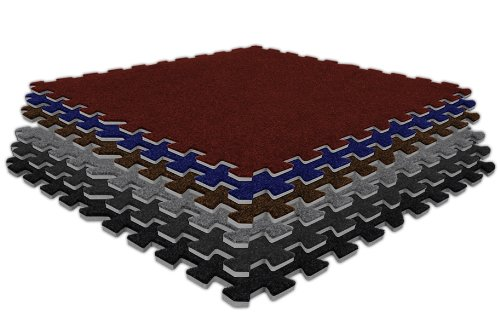 "IncStores 5/8"" Economy Soft Carpet Tiles 12 Pack Burgundy"