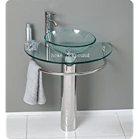 "30"" Bathroom Pedestal Vanity Glass Vessel Sink Set"