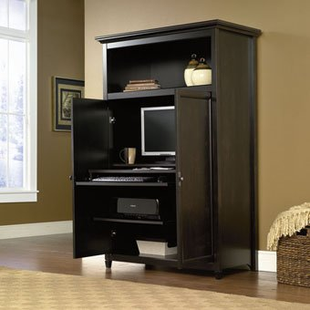 Sauder Edge Water Computer Armoire In Estate Black front-735381