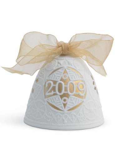 Lladro 2009 Christmas Bell, White with GoldAccent