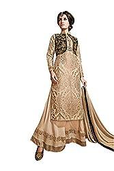 Rudra Textile Women's Beige Brocade Palazzo Suit