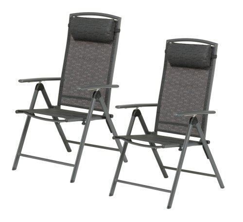 Valencia Black Garden Furniture Recliner Chair with Head Rest (Pack of 2 - Price for 2 chairs)- UK Mainland Delivery ONLY