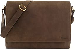 LEABAGS Oxford genuine buffalo leather messenger bag in vintage style - Olive